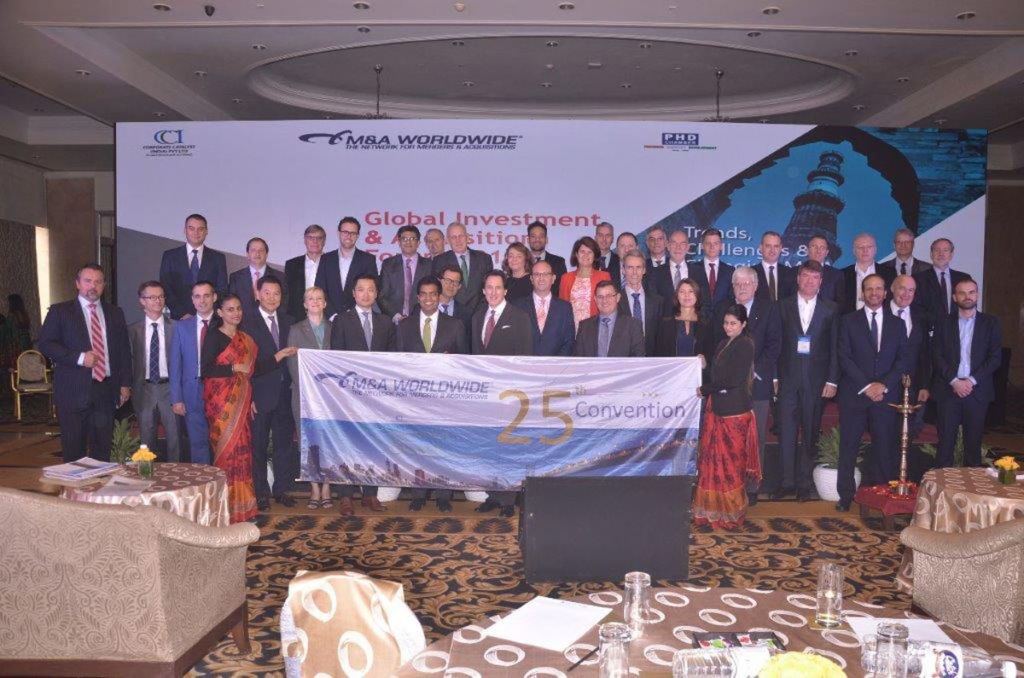 Members of M&A Worldwide in India inside the conference centre