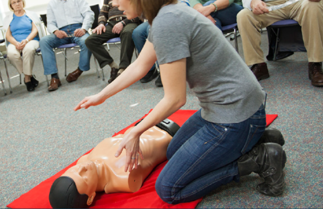 Practical Outcomes trainer delivering first aid course