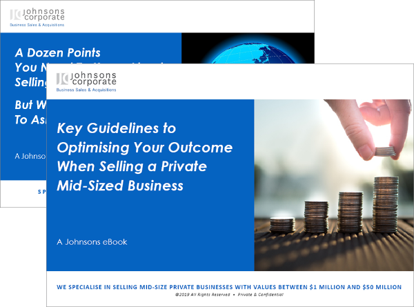 "Two eBook covers - on top ""Key Guidelines to Optimising Your Outcome When Selling a Mid-Sized Business"