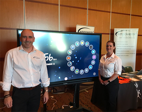 Empowered staff displaying screen technology